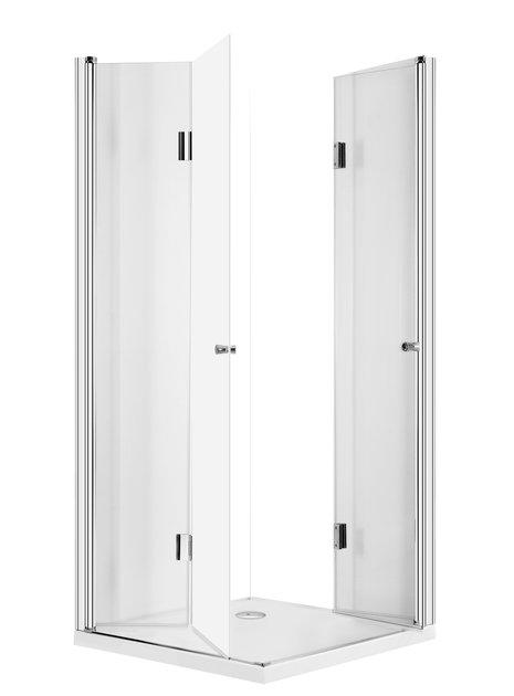 Kabina prysznicowa z dwuskrzydłowymi drzwiami składającymi się do środka