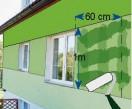 W każdym pasie o wysokości 1 m jednorazowo pokrywa się farbą powierzchnię o szerokości ok. 60 cm.