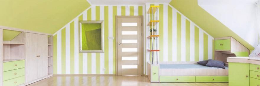 Zdj. 5. Możemy zastosować prążki na wszystkich ścianach lub tylko w wybranych miejscach pokoju.