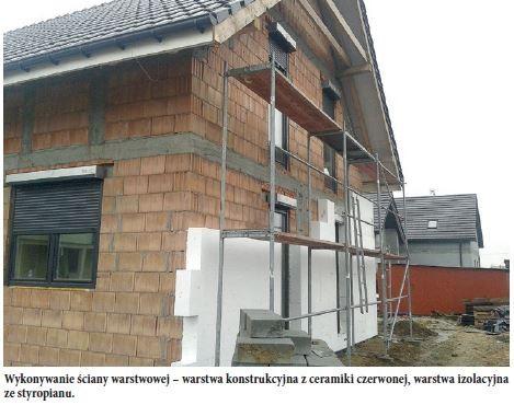 Wykonywanie ściany warstwowej – warstwa konstrukcyjna z ceramiki czerwonej, warstwa izolacyjna ze styropianu.