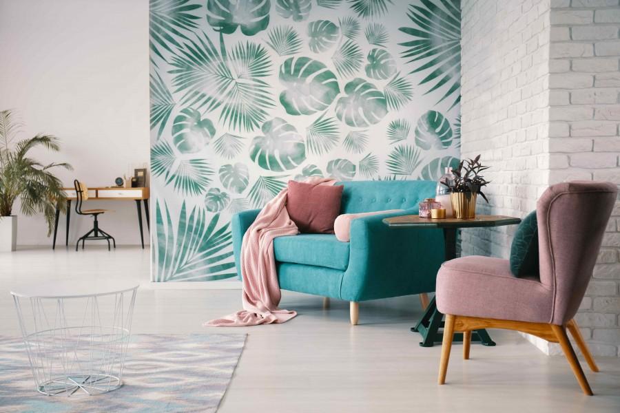 Modne wzory przyciągają uwagę do wytapetowanej części pomieszczenia