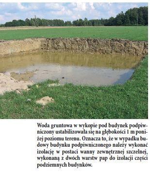 Woda gruntowa w wykopie pod budynek podpiwniczony ustabilizowała się na głębokości 1 m poniżej poziomu terenu. Oznacza to, że w wypadku budowy budynku podpiwniczonego należy wykonać izolację w postaci wanny zewnętrznej szczelnej, wykonaną z dwóch warstw pap do izolacji części podziemnych budynków