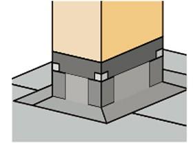 Podczas wykonywania obróbki komina najwięcej trudności sprawia przygotowanie elementów z papy podkładowej i dokładne ich przymocowanie.