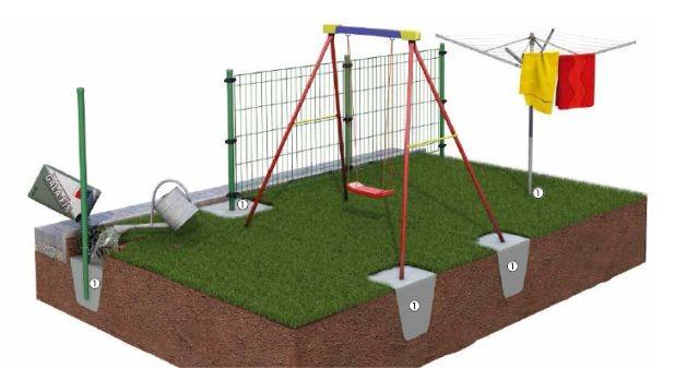 Zdj. 2. Przykładowe możliwości stosowania betonu Baumit Gala Fix w architekturze ogrodowej – m.in. montaż ogrodzeń, huśtawek, itp. Źródło: Archiwum BAUMIT.