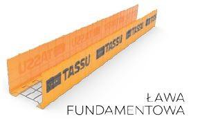 Wymiary szalunków ław fundamentowych TASSU [mm]: szerokość: 400, 500, 600, 700, 800, 900 i 1000, wysokość: 200, 300, 400 i 500.