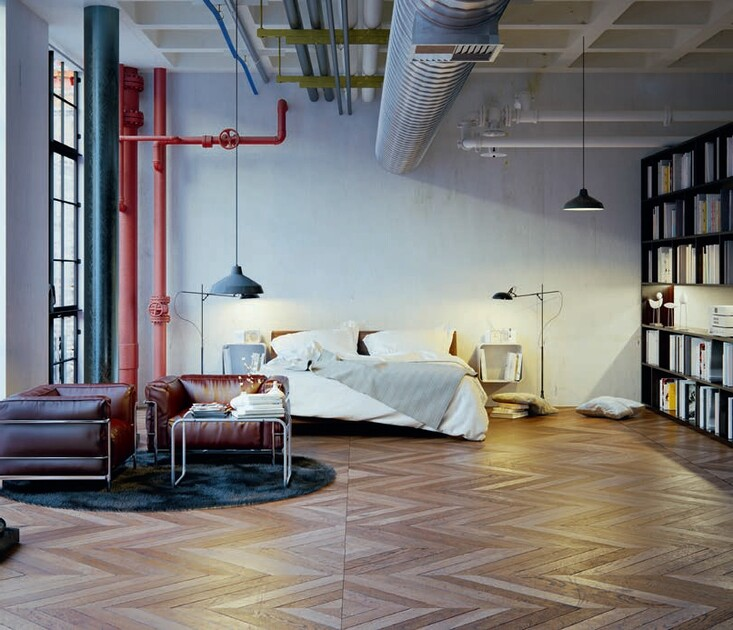 Zdj 5. Sposób ułożenia parkietu w jodełkę łączy nowoczesny klimat loftu z tradycją i ciepłem domowego wnętrza.