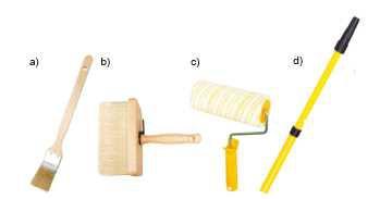 Podczas malowania pomieszczeń korzystajmy z różnych narzędzi: a) zakrzywiony pędzel do malowania za grzejnikami, b) szeroki pędzel do malowania dużych powierzchni, c) wałek do malowania różnych powierzchni, d) teleskopowa rączka do wałka, umożliwiająca sięgnięcie nawet do sufitu.
