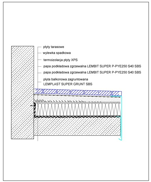 Rys.1. Układ warstw - balkon z termoizolacją.