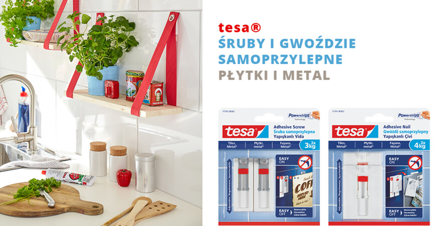 tesa® Śruby i gwoździe samoprzylepne, płytki i metal
