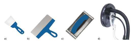 Narzędzia: a) wąska szpachelka ze stali nierdzewnej do nabierania masy, b) szeroka szpachla do rozprowadzania masy i wyrównywania powierzchni, c) paca, do której mocuje się siatkę, służąca do szlifowania powierzchni gipsowych, d) tarcza szlifierska szlifierki do ścian z pochłaniaczem pyłu.