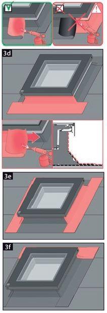 5. Wykonać drugą warstwę obróbki zgodnie ze sztuką dekarską. Ponownie nakładać dolną warstwę obróbki, następnie boczne a na końcu górną. Jeżeli materiał pokryciowy jest aktywowany termicznie należy pamiętać aby nigdy nie nagrzewać profili okna.