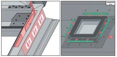 6. Po wykonaniu obróbki przykręcić listwy dociskające pamiętając o położeniu etykiet informujących o sprężynach gazowych. W przypadku zignorowania ostrzeżenia może dojść do przewiercenia sprężyn i uszkodzenia okna.