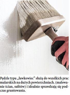 """Pędzle typu """"ławkowiec"""" służą do wszelkich prac malarskich na dużych powierzchniach. (malowanie ścian, sufitów) i idealnie sprawdzają się podczas gruntowania."""