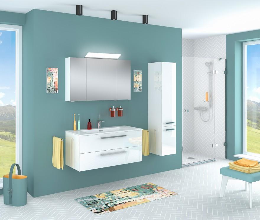 Zdj. 1. Zestaw mebli łazienkowych VERMONT w kolorze białym. Źródło: Archiwum Astor.