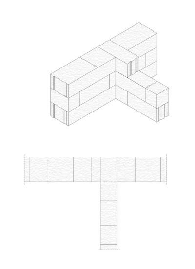 Rys.2. Tradycyjne wiązanie murarskie bloczków z betonu komórkowego H+H