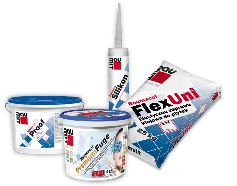 Grupa produktów Baumit przeznaczona do układania płytek, fot. Baumit