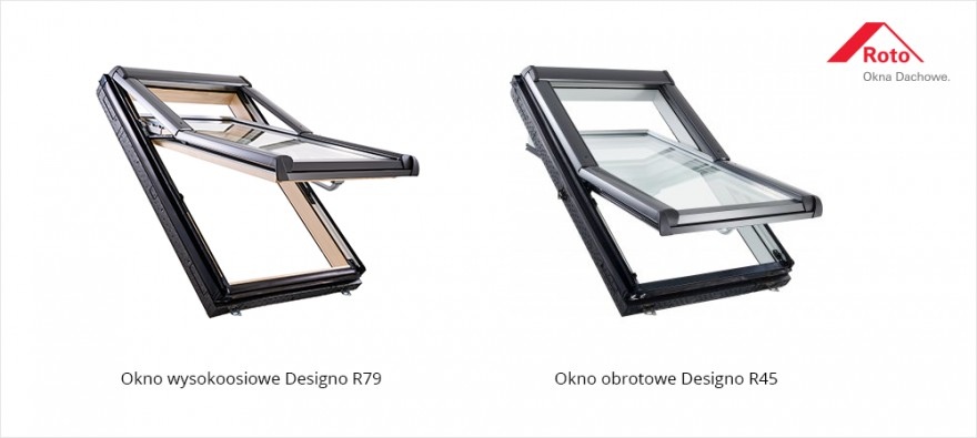 Okno wysokoosiowe Designo R79 i okno obrotowe Designo R45