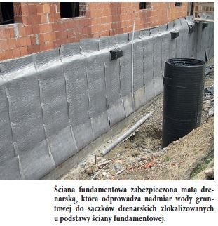 Ściana fundamentowa zabezpieczona matą drenarską, która odprowadza nadmiar wody gruntowej do sączków drenarskich zlokalizowanych u podstawy ściany fundamentowej