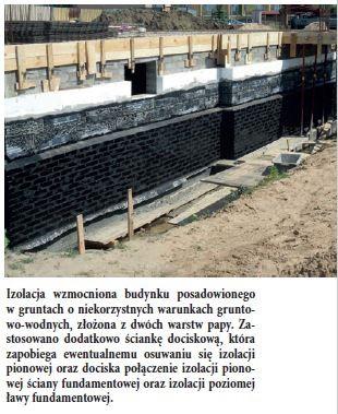 Izolacja wzmocniona budynku posadowionego w gruntach o niekorzystnych warunkach gruntowo- wodnych, złożona z dwóch warstw papy. Zastosowano dodatkowo ściankę dociskową, która zapobiega ewentualnemu osuwaniu się izolacji pionowej oraz dociska połączenie izolacji pionowej ściany fundamentowej oraz izolacji poziomej ławy fundamentowej.