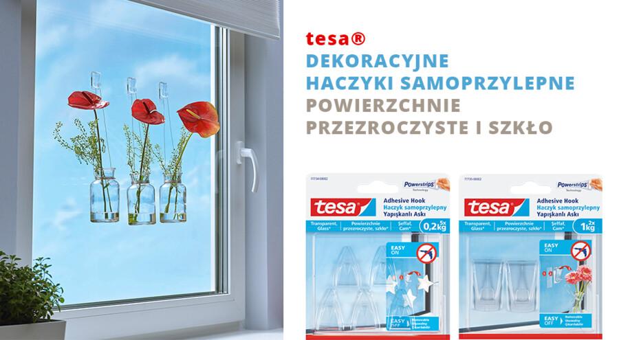 tesa® Dekoracyjne haczyki samoprzylepne, powierzchnie przezroczyste i szkło