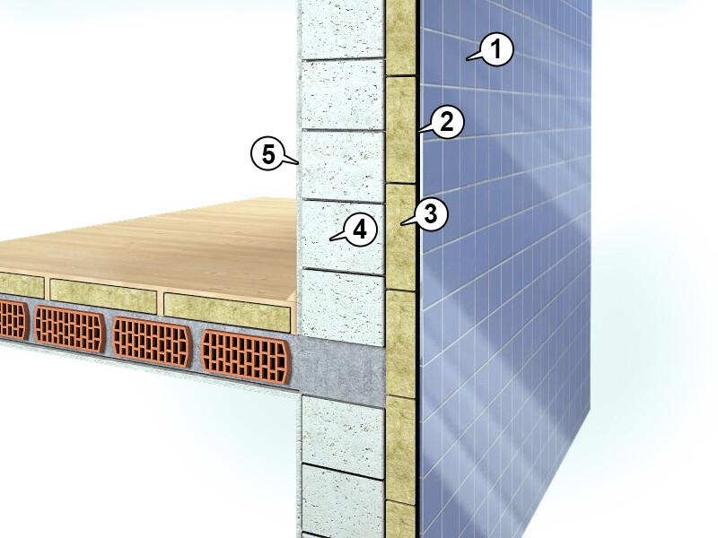 Zdj.1. Schemat trójwarstwowej ściany ISOVENT-MW - 1) okładzina szklana, 2) szczelina wentylacyjna, 3) ISOVENT-MW, 4) bloczki betonowe, 5) tynk.