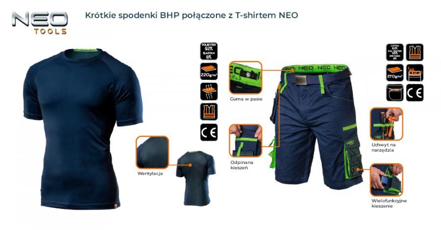 Krótkie spodenki BHP połączone z T-shirtem NEO idealnie sprawdzą się podczas pracy w letnie dni.