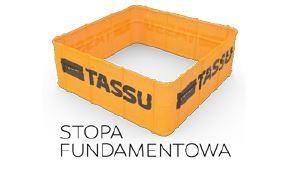 Wymiary szalunków stóp fundamentowych TASSU [mm]: szerokość: 400, 500, 600, 800 i 1000, wysokość: 300, 400 i 500.