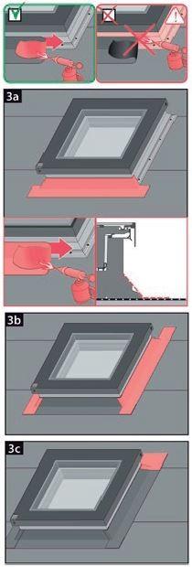 4. Wykonać pierwszą warstwę obróbki zgodnie ze sztuką dekarską. Istotne jest aby zwrócić szczególną uwagę na położenie etykiet informujących o położeniu sprężyn gazowych lub siłowników. Najpierw nakładać dolną warstwę obróbki, następnie boczne a na końcu górną. Jeżeli materiał pokryciowy jest aktywowany termicznie należy pamiętać aby nigdy nie nagrzewać profili okna.