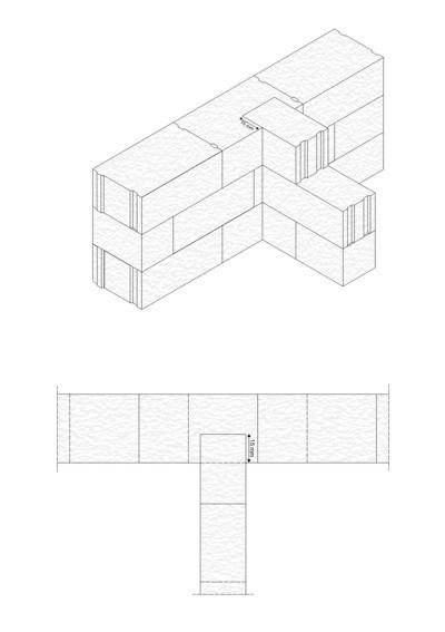 Rys.3. Przewiązania bloczków na 15 cm w głąb ściany