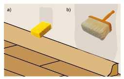 Podczas odnawiania pomieszczeń należy przeprowadzić próbę nasiąkliwości podłoża, posługując się gąbką zamoczoną w wodzie (a). Jeśli jest ono chłonne, konieczne jest gruntowanie (b).