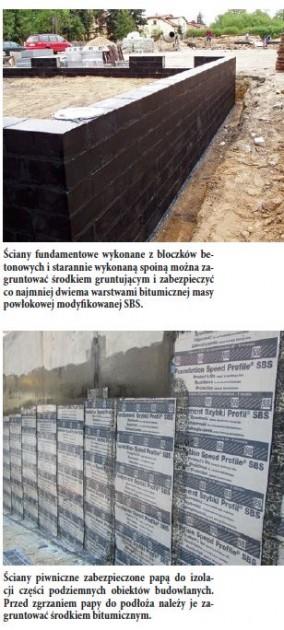Ściany fundamentowe wykonane z bloczków betonowych i starannie wykonaną spoiną można zagruntować środkiem gruntującym i zabezpieczyć co najmniej dwiema warstwami bitumicznej masy powłokowej modyfikowanej SBS.