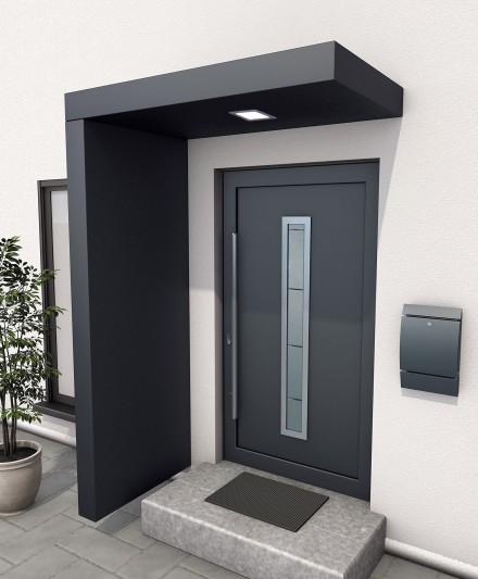 Zdj. 1. Najbardziej popularne zadaszenia drzwi wejściowych wykonane z profili aluminiowych, malowanych proszkowo w  wielu wzorach i kolorach. Źródło: Archiwum GUTTA.