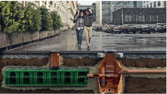 Skrzynki magazynują wodę w czasie deszczu aby później odprowadzić ją do gruntu.