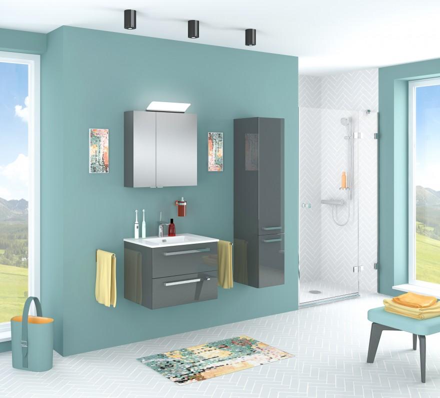 Zdj. 3. Zestaw mebli łazienkowych VERMONT w kolorze antracyt. Źródło: Archiwum Astor.
