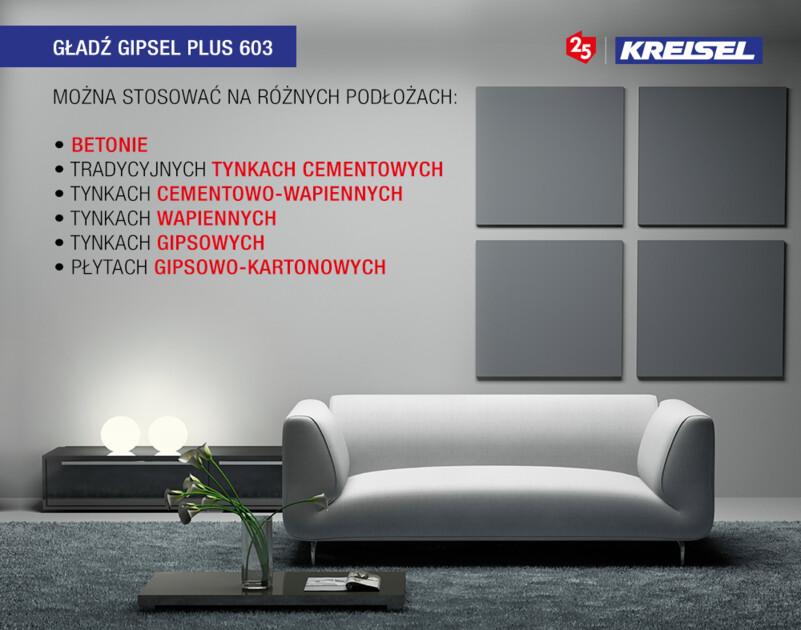 Gładź GIPSEL Plus 603 - zastosowanie na różnych podłożach