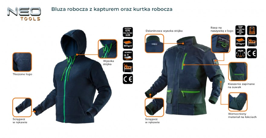 Na chłodniejsze poranki powyższe zestawienie świetnie dopełni dzianinowa bluza robocza z kapturem, kurtka robocza.