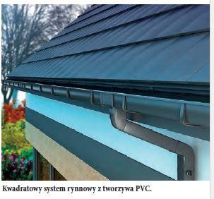 Kwadratowy system rynnowy z tworzywa PVC.