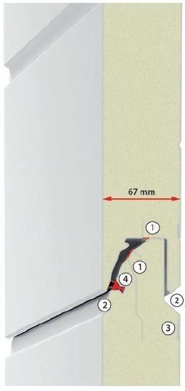 Budowa segmentu bramy LPU 67 Thermo 1. Rozdzielone termicznie panele o grubości 67 mm. 2. Zabezpieczenie przez przytrzaśnięciem palców. 3. Potrójne wzmocnienie z blachy w obszarze mocowania okuć. 4. Podwójna uszczelka wargowa na łączeniach segmentów.