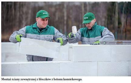 H+H - Montaż ściany zewnętrznej z bloczków z betonu komórkowego.