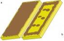 Zaprawę klejową nanosi się na całą powierzchnię mate-riału izolacyjnego (a) lub jako pasmo wokół obrzeża płyty oraz 3–6 placków na pozostałej przestrzeni (b).