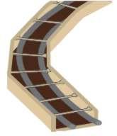 Listwę przeznaczoną do wykonywania ścianek łukowych rozcina się wzdłuż za pomocą piłki do metalu, po czym przykręca do podłogi jedną część. Drugą część należy tak ułożyć, aby stykała się z pierwszą i była do niej równoległa. Po przymocowaniu listew łączy się ich górne krawędzie spinkami z tworzywa, a następnie wsuwa w korytko taśmę dylatacyjną, którą należy od strony jednej krawędzi ponacinać, aby lepiej się ułożyła.
