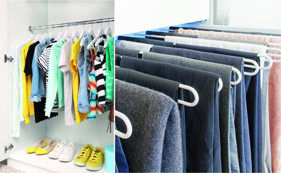 Nowoczesne rozwiązania sprzyjają utrzymaniu porządku w szafie. Na wieszakach przeznaczonych do spodni można też przechowywać zimowe szale